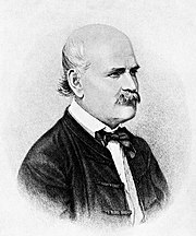 Ignaz Semmelweis (1860 portrait): advised handwashing with a chlorinated-lime solution in 1847.