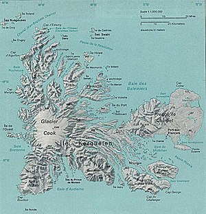 Îles Leygues - Map of Kerguelen with the Leygues Islands as Îles Swain