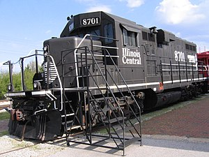 GP11 - An Illinois Central GP11 now on permanent display in downtown Carbondale, Illinois.  This is the second GP11 rebuilt by ICG's shops in Paducah, Ky  The first GP11 was numbered 8301.  After this unit was rebuilt the 8700-series was created for the GP11s.  It was intended that 8301 would be renumbered 8700, but that never happened.