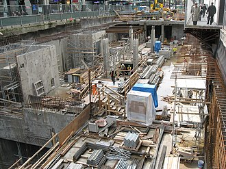 Vancouver City Centre station - Construction outside of Pacific Centre (right) on Granville Street in April 2008