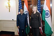 Indian Defense Minister A.K. Antony with US Secretary of State Hillary Clinton