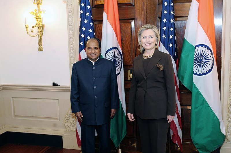 File:Indian   Defense Minister A.K. Antony with US Secretary of State Hillary Clinton.jpg