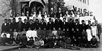 Residential school group, Regina, Saskatchewan, c. 1908