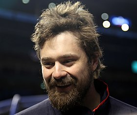 Indians reliever Andrew Miller smiles during an interview at Wrigley Field. (30011203554).jpg