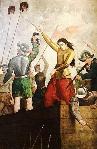 Arauco War - Doña Inés de Suárez in defending the city of Santiago