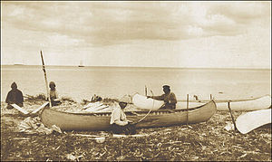 Labrador - Innu making canoes ca. 1920