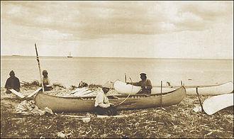 Labrador - Innu making canoes ca. 1920