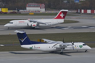 Regional airliner - A Dash 8 in front of a BAe 146