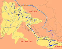 Ирты́ш (на казахском языке- Ертіс, на татарском - Иртеш) - река в Сибири и Казахстане, главный приток Оби.