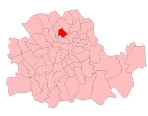 Frank Milton - Islington South in the County of London, showing boundaries used in 1929