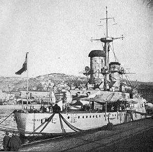 Ammiraglio di Saint Bon-class battleship - Emanuele Filiberto at Fiume in late 1918 after the end of World War I