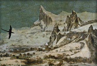 The Hunters in the Snow - Image: Jäger im Schnee Gebirge und Burg