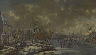 Wintergezicht op Rotterdam met Huis Crooswijk aan de Rotte