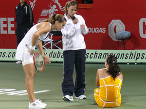 A photo of a fallen Jelena at the 2007 Dubai T...