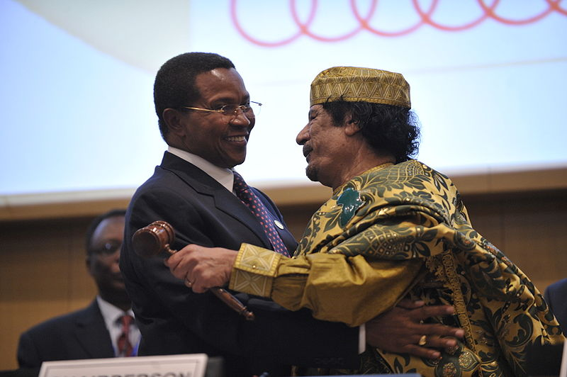 Jakaya Kikwete and Muammar al-Gaddafi, 12th AU Summit, 090202-N-0506A-678.jpg