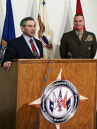 James L. Jones - Deputy Defense Secretary Paul D. Wolfowitz and Jones at press conference announcing Jones as EUCOM Commander