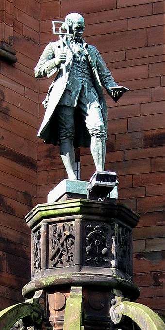 A statue at the original James Watt College building marks the site of his birthplace. James Watt Memorial College statue.jpg