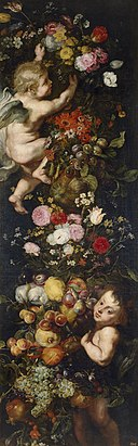 Jan Brueghel (I), Peter Paul Rubens (Workshop) and Frans Snyders - Festoon of flowers and fruits and cherubs.jpg