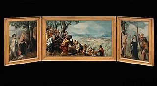 Drieluik met de intocht van Christus in Jeruzalem, heiligen en op de buitenzijden van de luiken stichters uit de familie Van Lokhorst