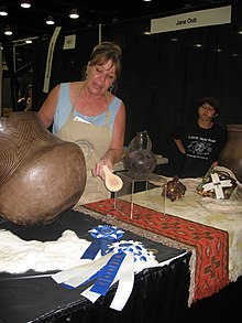 Jane Osti of the Cherokee Nation, with her award-winning pottery, in 2006