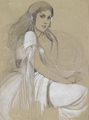 Alphonse Mucha - The artist's daughter Jaroslava, 1920s