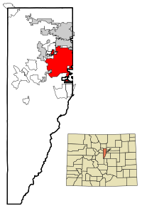 Jefferson County Colorado Incorporated and Unincorporated areas Lakewood Highlighted.svg