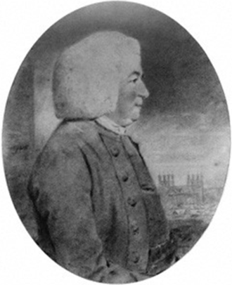 Jeremiah Milles - Rev.Jeremiah Milles (1714–1784), Dean of Exeter, with Exeter Cathedral in background. Watercolour portrait painted in 1785 by John Downman