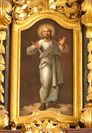 The picture is a Greek Catholic icon depicting...