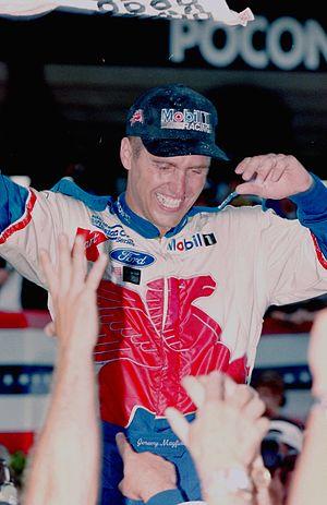 Jeremy Mayfield - Mayfield celebrating after winning the 1998 Pocono 500