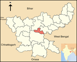 Location of Ramgarh district in Jharkhand