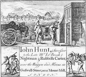 Gong farmer - Eighteenth-century flyer advertising the services of John Hunt, nightman and rubbish carter, showing two men carrying one of the pipes used to remove human excrement