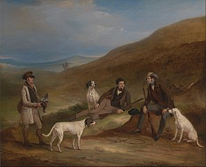 Edward Horner Reynard and his Brother George Grouse-Shooting At Middlesmoor, Yorkshire, with Their Gamekeeper Tully Lamb