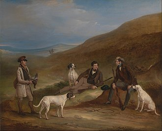 Driven grouse shooting - Grouse shooting scene in Yorkshire – 1836 painting by John Fearnley