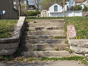 National Register of Historic Places listings in east Davenport, Iowa - Image: John R. Boyle House steps