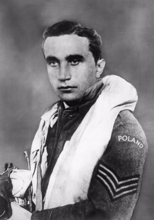 "Josef František - František in RAF uniform with ""Poland"" shoulder flash"