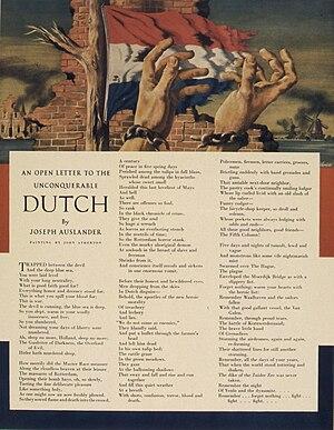 """Joseph Auslander - """"Open letter"""" to the Dutch, World War II poster"""