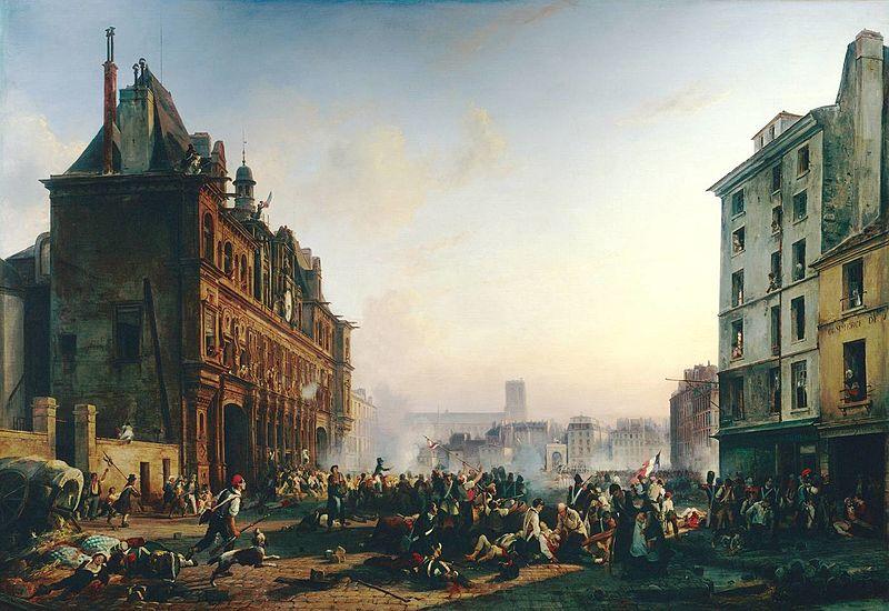 File:Joseph BEAUME - Attaque de l'Hôtel de Ville de Paris, le 28 juillet 1830.jpg