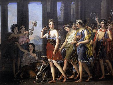Joseph Paelinck - The Fair Anthia Leading her Companions to the Temple of Diana in Ephesus - WGA16853.jpg