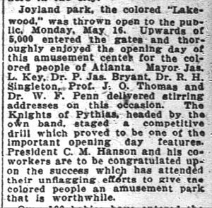 William F. Penn - Mentioned as speaking at opening of Joyland Park