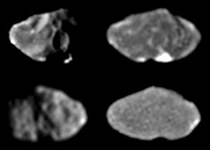 Amalthea (moon) - Galileo images showing Amalthea's irregular shape