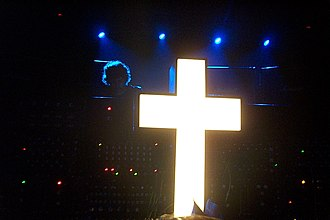 Justice (band) - Justice at Fabric with the large illuminated cross they typically perform alongside