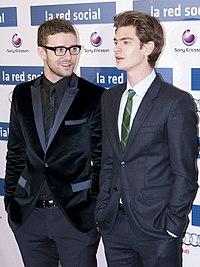Justin Timberlake e Andrew Garfield alla prima di The Social Network (2010)