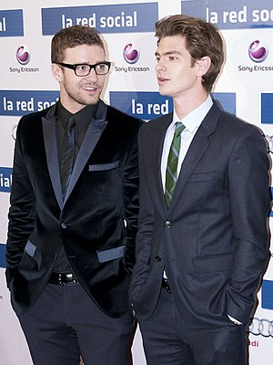 Justin Timberlake - Timberlake (left) with Andrew Garfield (right) at an event for The Social Network in Madrid, October 2010