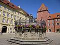 Justitia-Brunnen in Regensburg, Haidplatz.JPG
