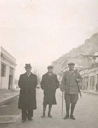 Ali Këlcyra - Balli Kombëtar leaders Ali Këlcyra, Mit'hat Frashëri, Thoma Orollogaj (from left to right) in Berat