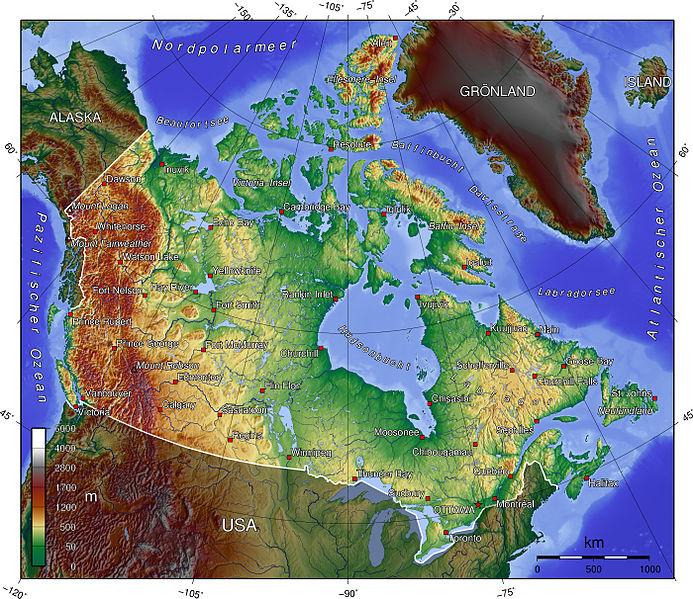 Topografie Kanadas