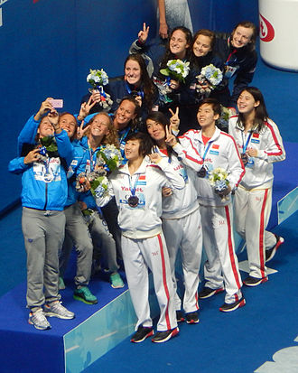 Swimming at the 2015 World Aquatics Championships – Women's 4 × 200 metre freestyle relay - Victory Ceremony