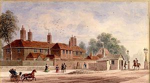 Kensington Barracks - The original Kensington Barracks at Kensington Gate by Thomas H. Shepherd, c.1840