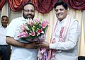 Keshab Mahanta meeting the Minister of State for Power, Coal, New and Renewable Energy and Mines (Independent Charge), Shri Piyush Goyal, in New Delhi.jpg