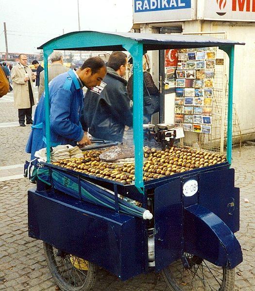 Kestane, roasted chestnuts. From Best Street Foods in Istanbul, Turkey